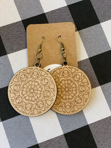 Wooden Earrings - Mandala