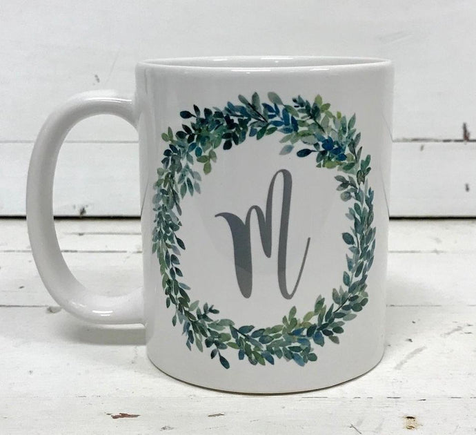 Mug - Initial in a Boxwood Wreath