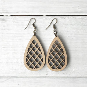 Wooden Earrings - Quatrefoil