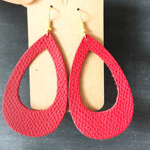 Leather Earrings - Red Teardrop Cutout