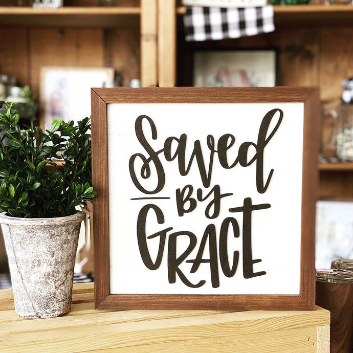 Wooden 3D Sign - Saved by Grace
