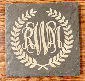 Slate Coaster - Etched With Monogram and Laurels