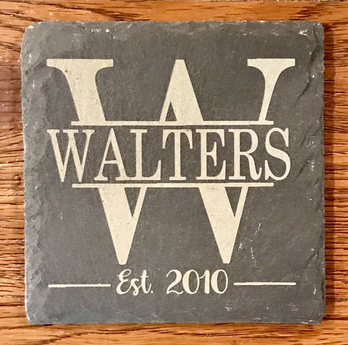 Slate Coaster - Etched With Initial, Name, and Est. Date