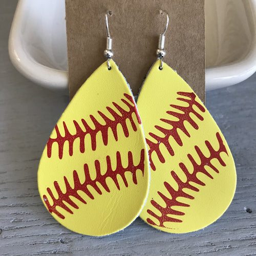 Leather Earrings - Softball