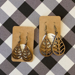 Wooden Earrings - Teardrop Leaf