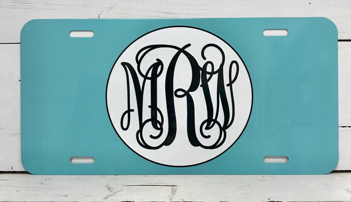 Monogrammed License Plate - Turquoise Background