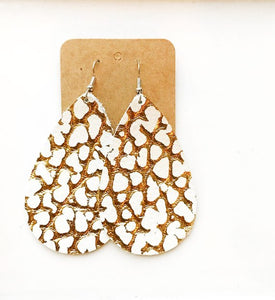 Leather Earrings - White and Gold Cracked Teardrop