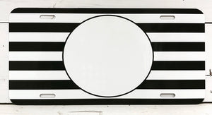 Monogrammed License Plate - Black and White Striped Background