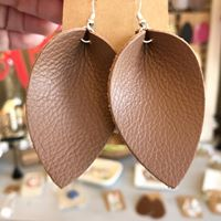 Leather Earrings - Brown Petal
