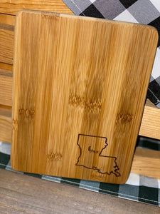"Engraved Cutting Board ""Home"" Louisiana"