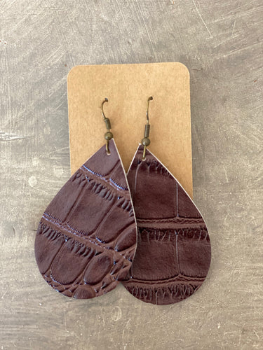 Leather Earrings - Faux Alligator Print Teardrop