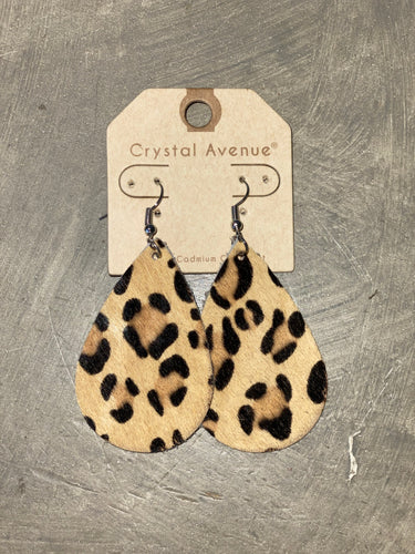 Leather Earrings - Tan Leopard Teardrop