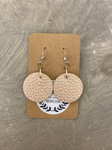 Leather Earrings - Gold Circle