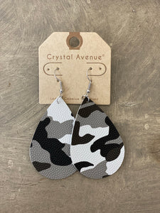 Leather Earrings - Black and Gray Camo Teardrop