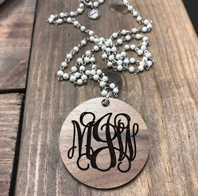 "Wooden Pendant with Engraved Monogram on 36"" Pearl Chain"