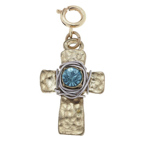 Jane Marie Wire Wrapped Aqua Cross