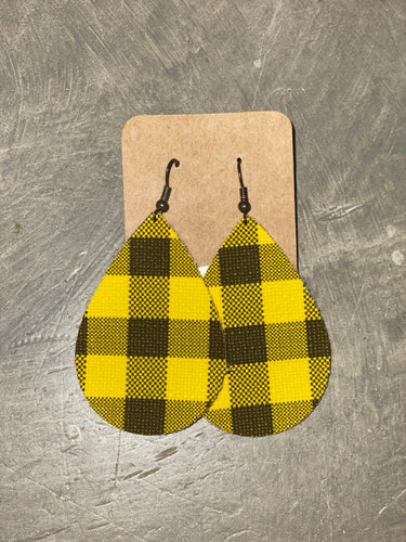 Leather Earrings - Black and Yellow Buffalo Teardrop