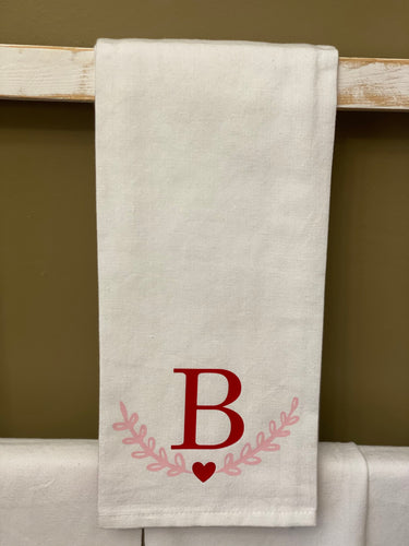 Hand Towel - Custom with Initial + Heart Laurels
