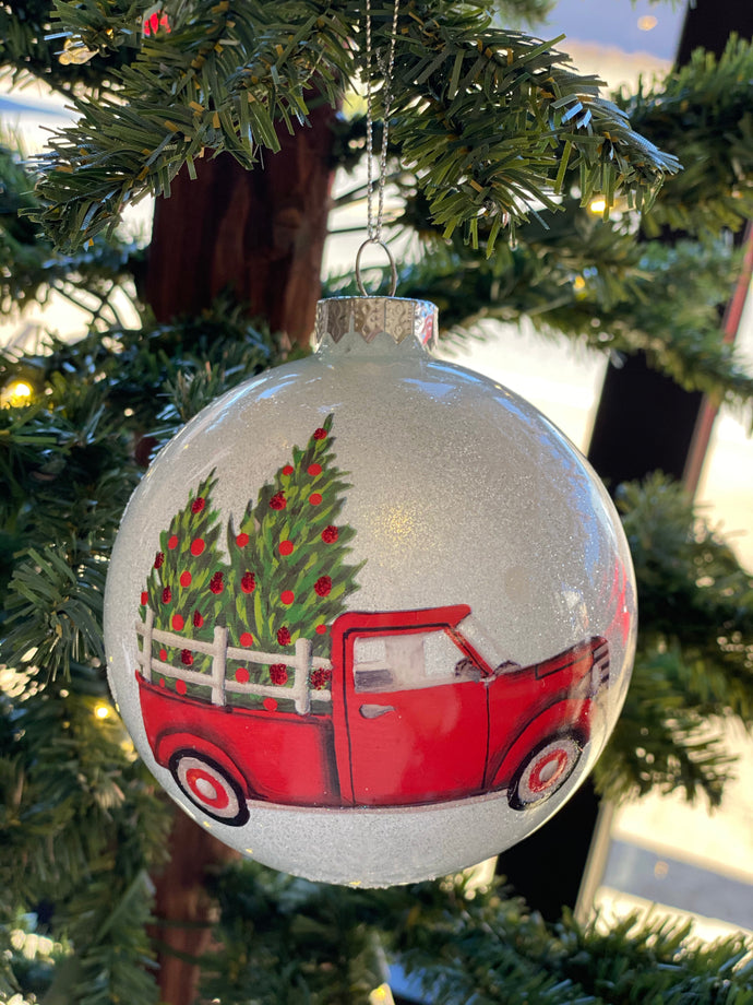 Vintage Red Truck Glass Ornament