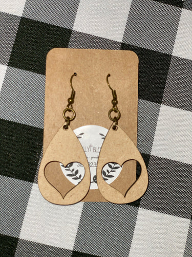 Wooden Earrings - Teardrop Heart