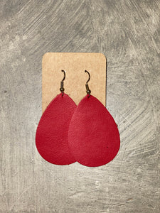 Leather Earrings - Red Teardrop