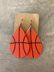 Leather Earrings - Basketball Teardrop