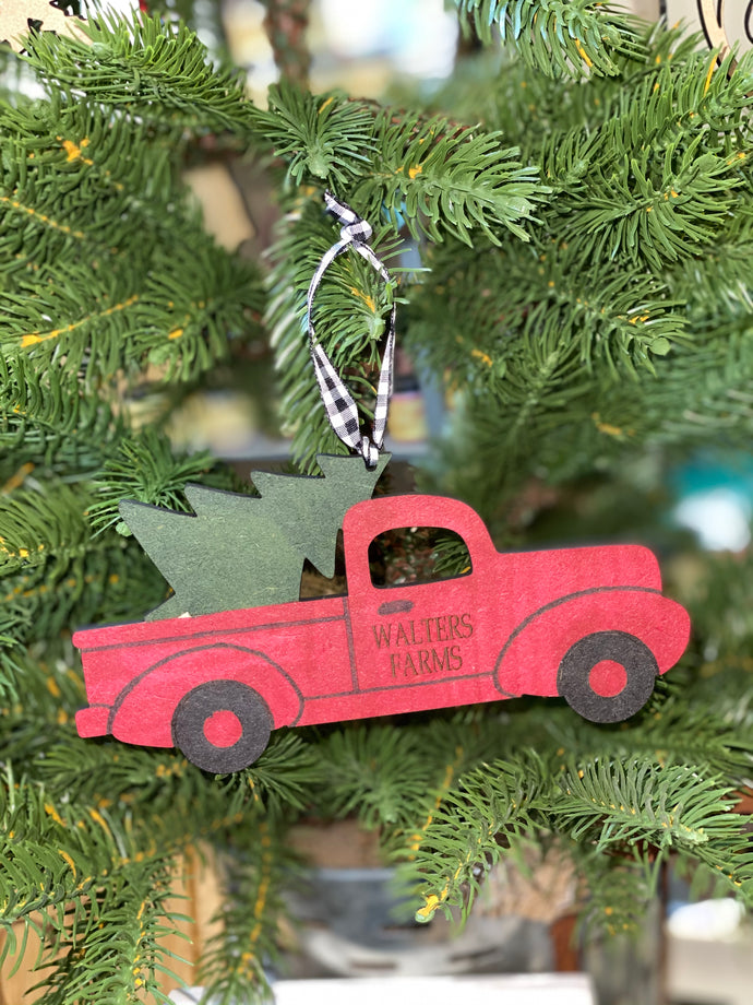 Custom Christmas Ornament - Vintage Red Truck