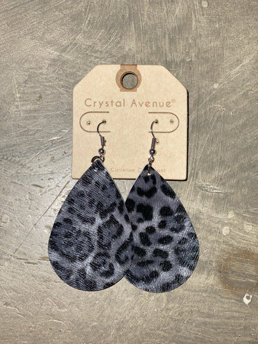 Leather Earrings - Black and Gray Leopard Teardrop