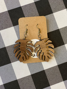Wooden Earrings - Leaf