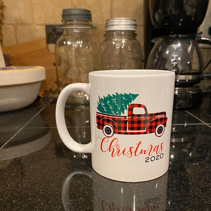 Mug - Christmas 2020 with Red/Black Check Truck