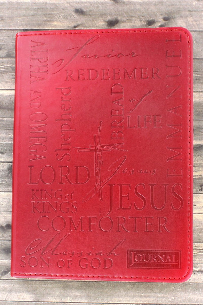 Journal - Names of Jesus Red Luxleather Flexcover
