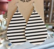 Leather Earrings - Black and White Stripe Teardrop