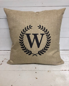Throw Pillow - Initial & Laurels