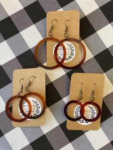 Acrylic Earrings - Tortoise Shell Open Circle