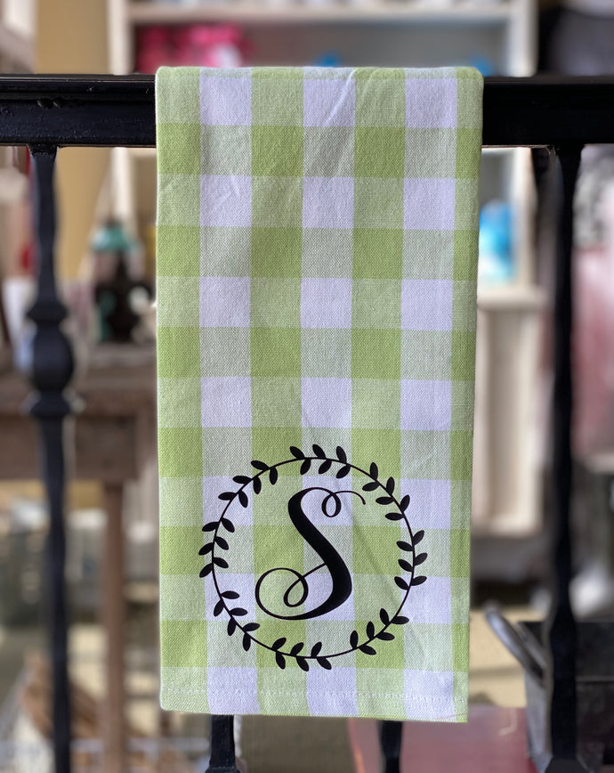 Hand Towel - Custom with Initial + Laurel Wreath