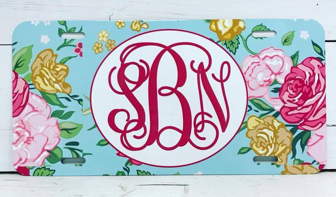 Monogrammed License Plate - Vintage Floral Background