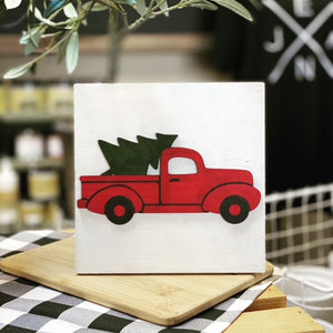 Wooden Vintage Truck 6-inch Square