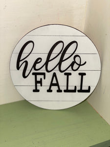 "Wooden ""Hello Fall"" 6-inch Round"
