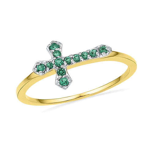 10kt Yellow Gold Womens Round Lab-Created Emerald Christian Cross Band Ring 1/8 Cttw