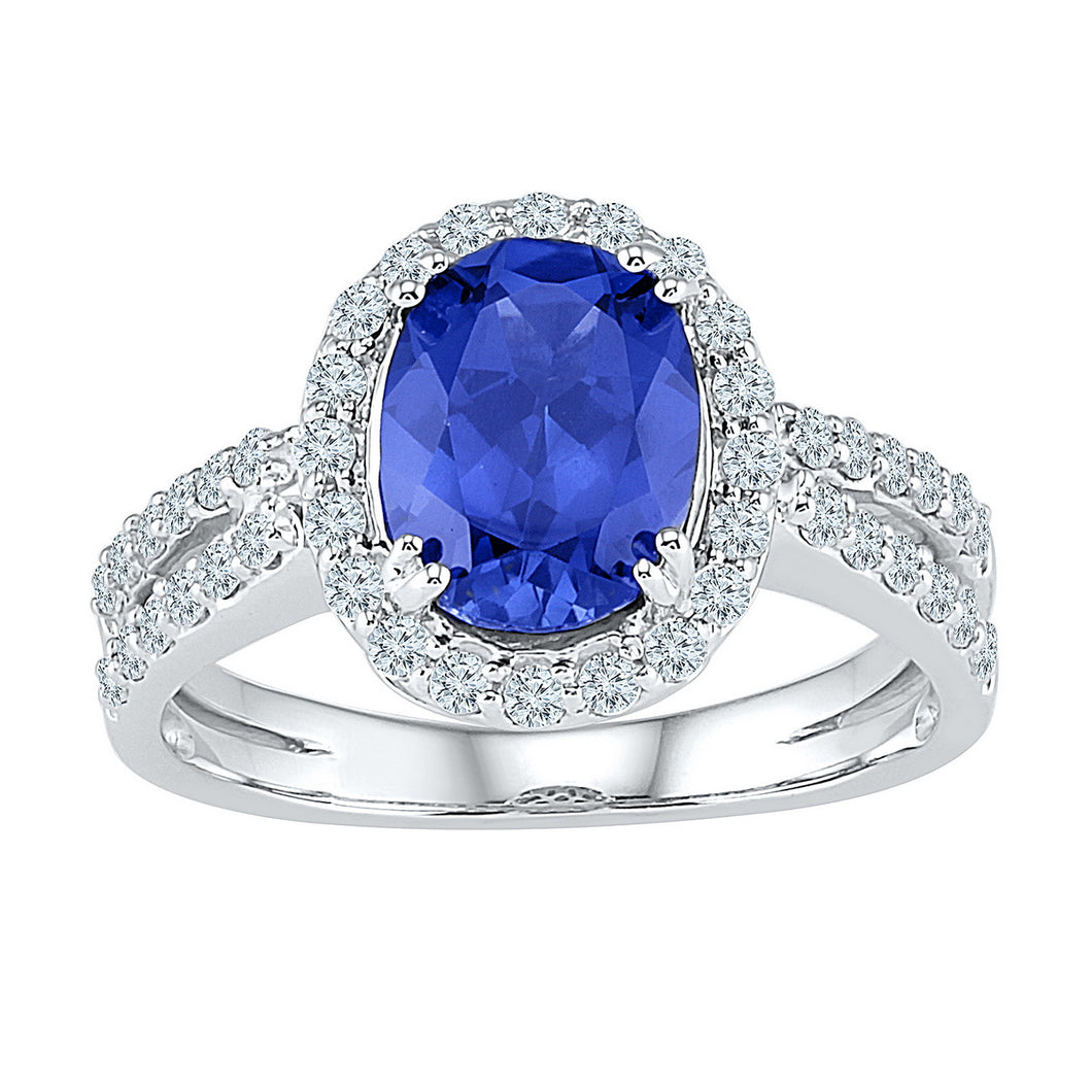 10kt White Gold Womens Oval Lab-Created Blue Sapphire Solitaire Diamond Ring 2-1/8 Cttw
