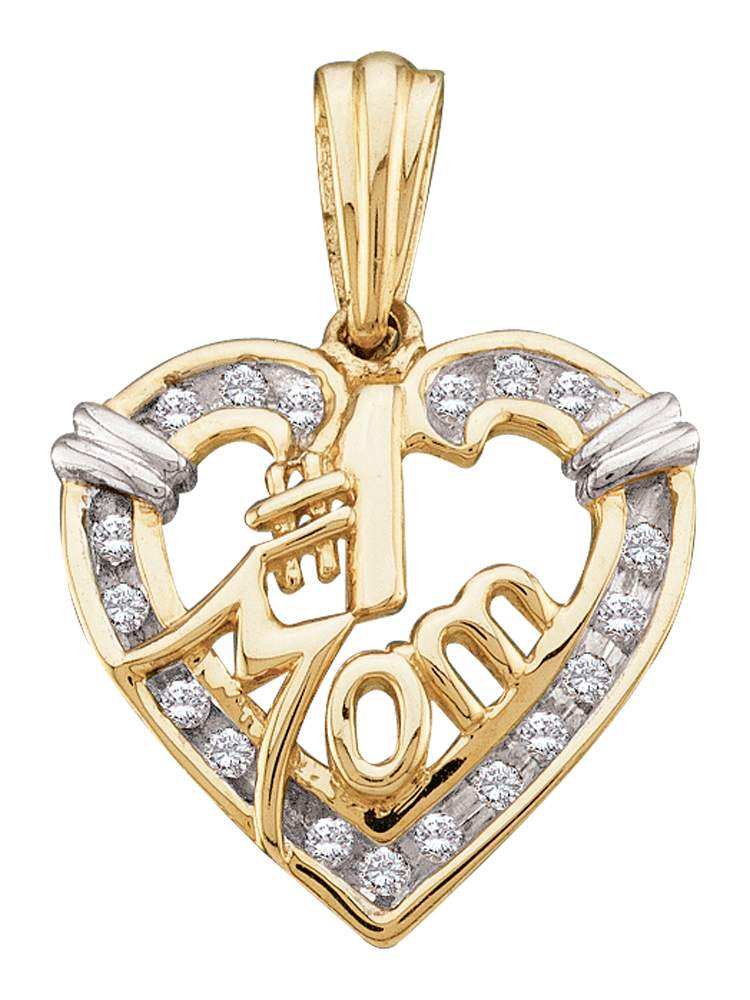 10kt Yellow Gold Womens Round Diamond Mom Mother Heart Pendant 1/6 Cttw