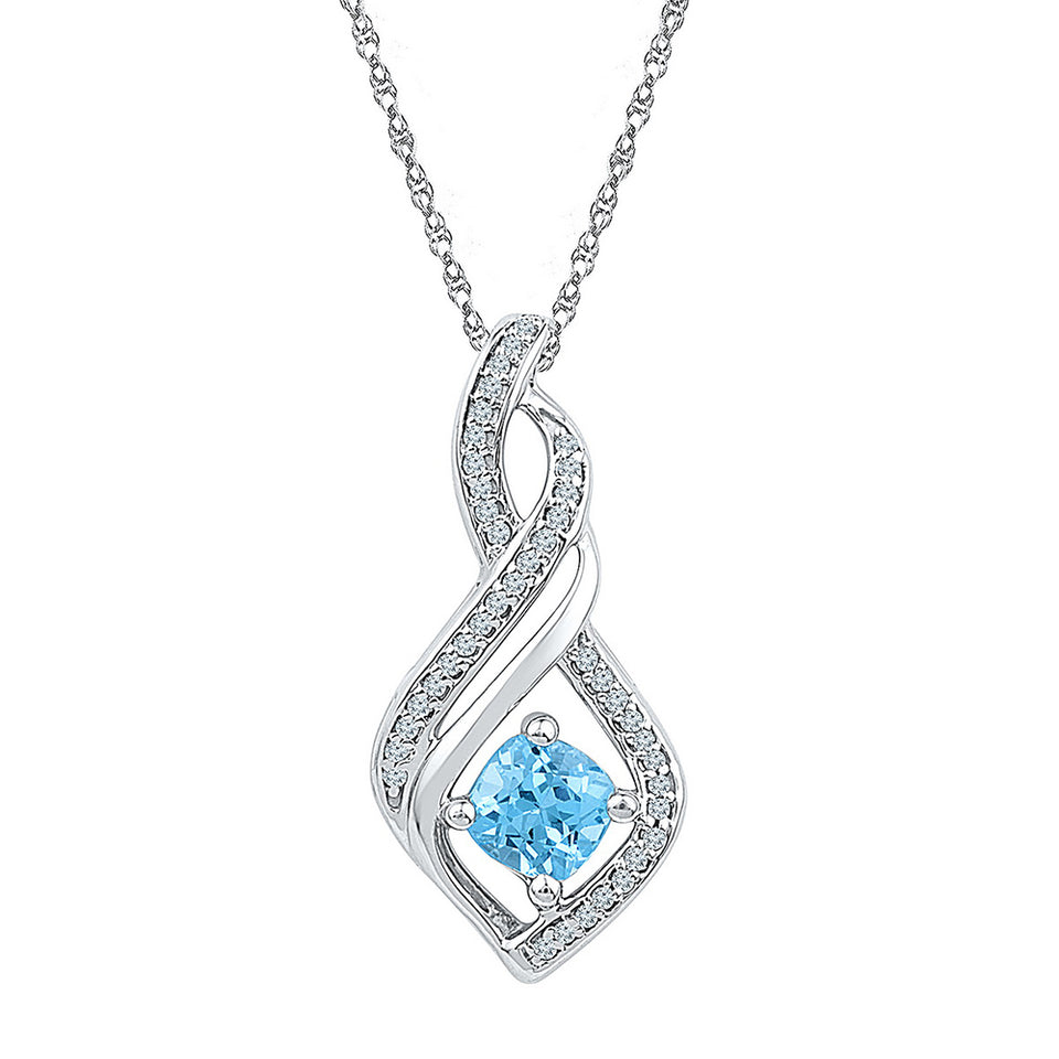 10kt White Gold Womens Round Blue Topaz Solitaire Diamond Pendant 3/4 Cttw