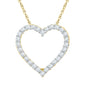 10kt Yellow Gold Womens Round Diamond Heart Love Pendant 1/4 Cttw
