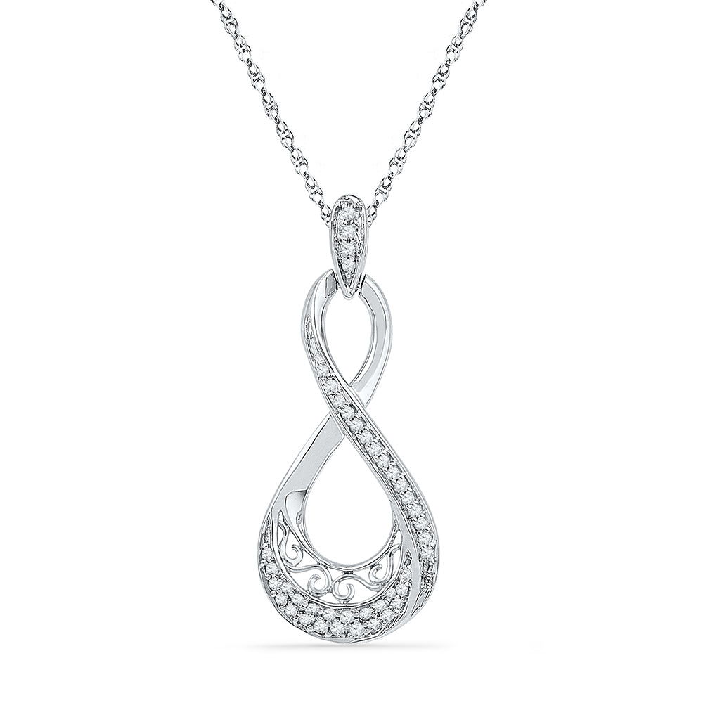 10kt White Gold Womens Round Diamond Teardrop Pendant 1/5 Cttw