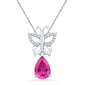 10kt White Gold Womens Pear Lab-Created Pink Sapphire Butterfly Bug Pendant 2-3/4 Cttw