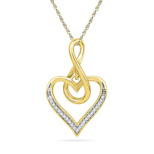 10kt Yellow Gold Womens Round Diamond Infinity Heart Love Pendant 1/12 Cttw