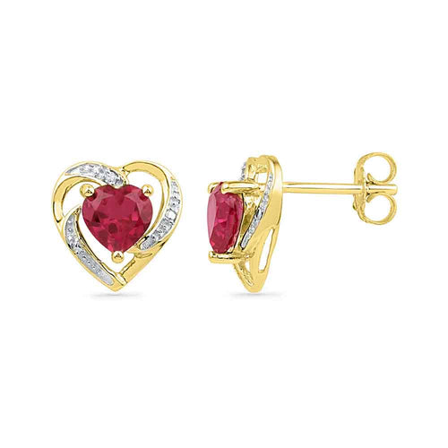 10kt Yellow Gold Womens Round Lab-Created Ruby Heart Love Earrings 3/8 Cttw