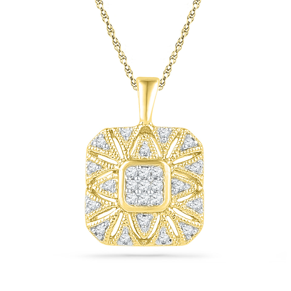 10kt Yellow Gold Womens Round Diamond Square Cluster Pendant 1/6 Cttw