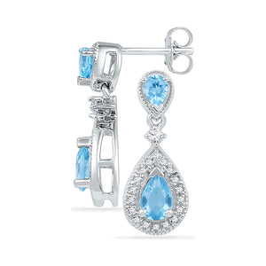 10kt White Gold Womens Pear Lab-Created Blue Topaz Dangle Diamond Earrings 1-1/2 Cttw
