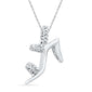 10kt White Gold Womens Round Diamond Stiletto Shoe Pendant 1/20 Cttw